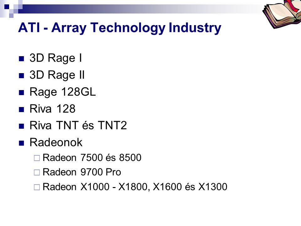 ATI - Array Technology Industry  3D Rage I  3D Rage II  Rage 128GL  Riva 128  Riva TNT és TNT2  Radeonok  Radeon 7500 és 8500  Radeon 9700 Pro