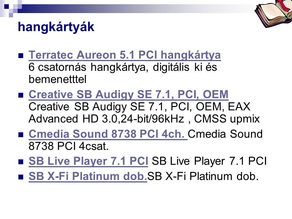 hangkártyák  Terratec Aureon 5.1 PCI hangkártya 6 csatornás hangkártya, digitális ki és bemenetttel Terratec Aureon 5.1 PCI hangkártya  Creative SB