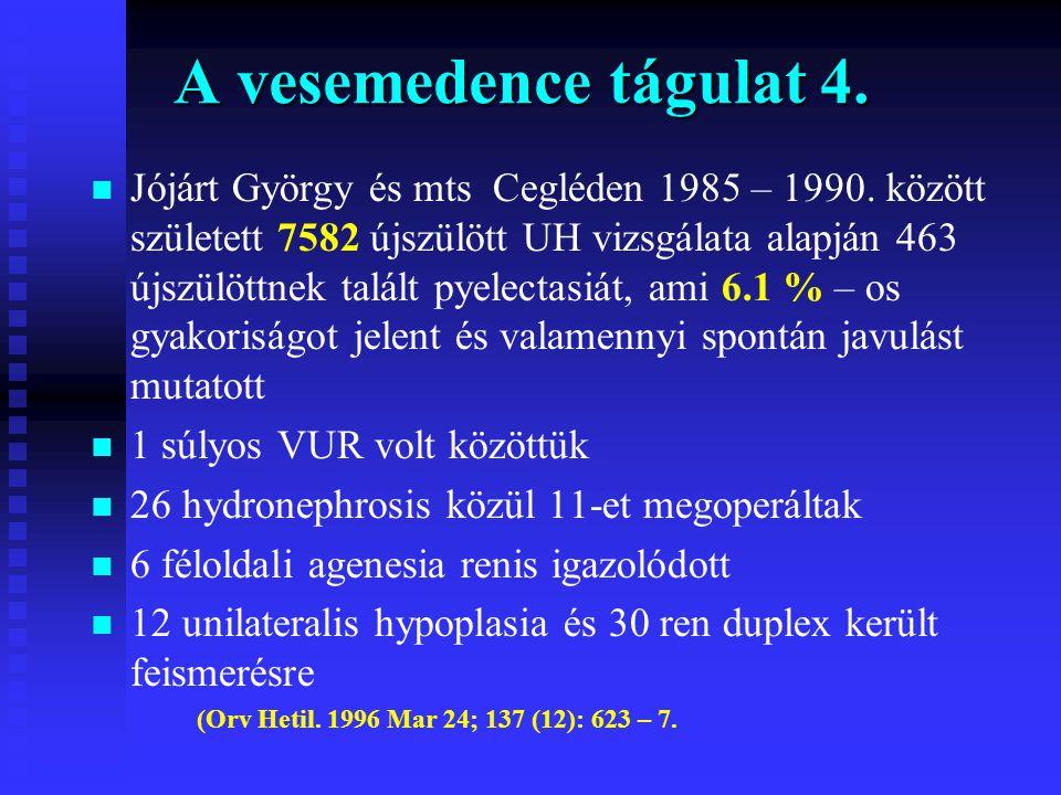A vesemedence tágulat 4. n n Jójárt György és mts Cegléden 1985 – 1990. között született 7582 újszülött UH vizsgálata alapján 463 újszülöttnek talált