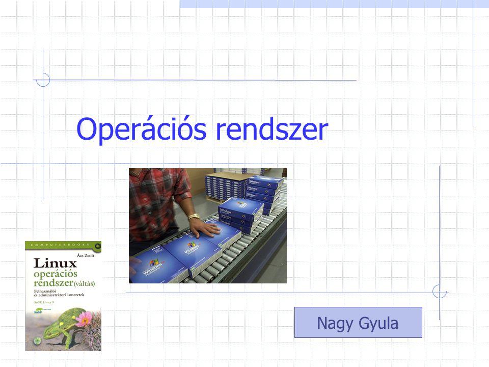 OS Feladata Miután a BIOS betölti az Operációs rendszert Az operációs rendszer a számítógép kezelésének alapvető funkcióit valósítja meg A gép hardver egységeit kezeli.