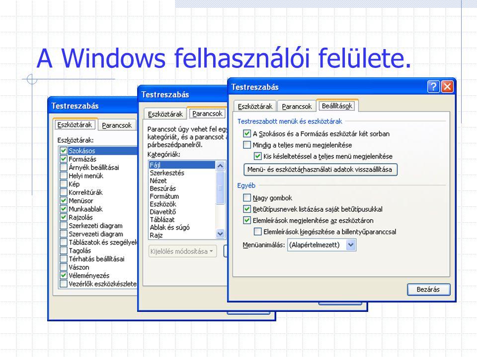 A Windows felhasználói felülete.