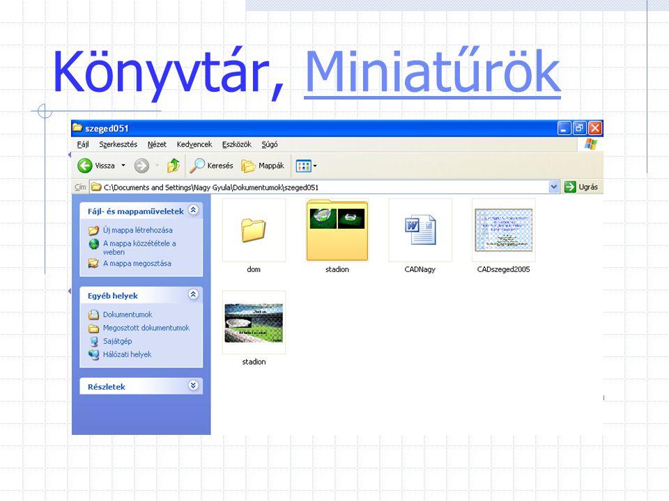 Könyvtár, MiniatűrökMiniatűrök A Miniatűrök nézet a mappában lévő képeket a mappa ikonján jeleníti meg, így a mappa tartalma könnyen áttekinthető. A W