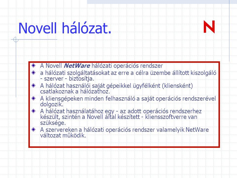 Novell hálózat. A Novell NetWare hálózati operációs rendszer a hálózati szolgáltatásokat az erre a célra üzembe állított kiszolgáló - szerver - biztos