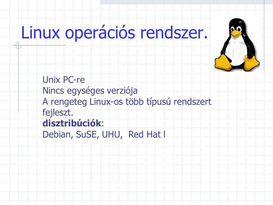 Linux operációs rendszer. Unix PC-re Nincs egységes verziója A rengeteg Linux-os több típusú rendszert fejleszt. disztribúciók: Debian, SuSE, UHU, Red