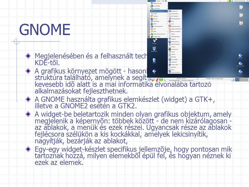 GNOME Megjelenésében és a felhasznált technológiában is különbözik a KDE-tõl. A grafikus környezet mögött - hasonlóan a KDE-hez - erõs struktúra talál