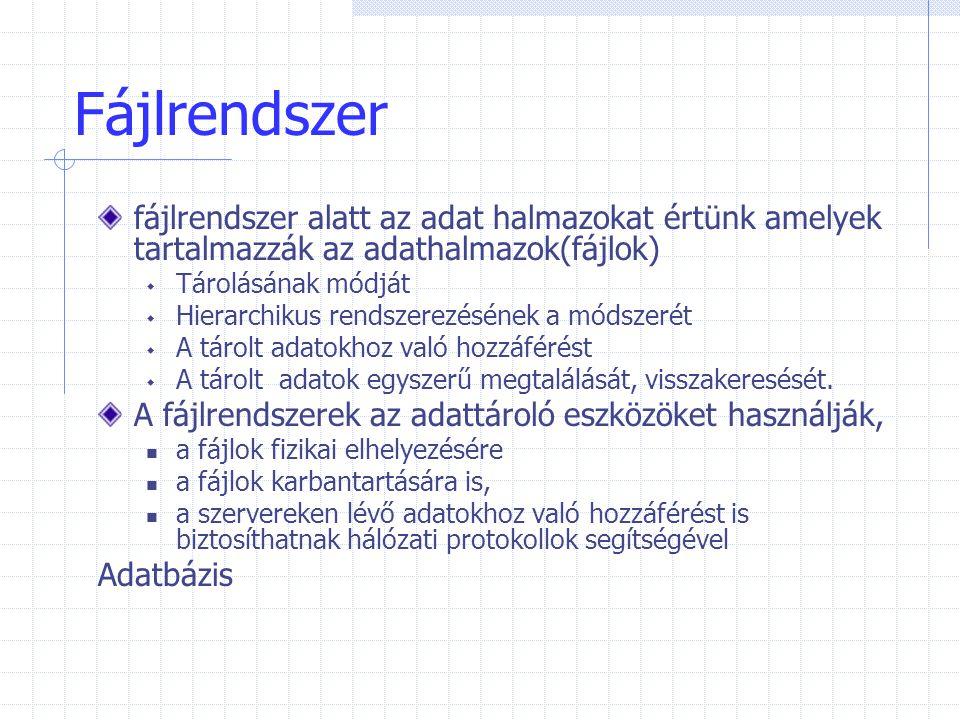 Fájlrendszer fájlrendszer alatt az adat halmazokat értünk amelyek tartalmazzák az adathalmazok(fájlok)  Tárolásának módját  Hierarchikus rendszerezé