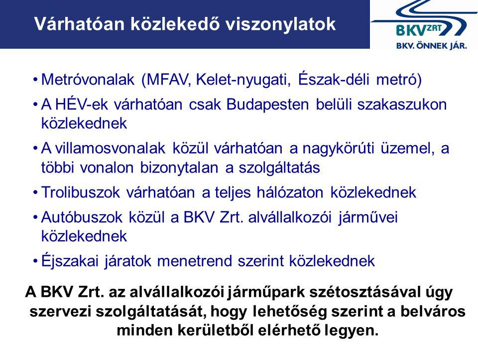 Várhatóan közlekedő viszonylatok •Metróvonalak (MFAV, Kelet-nyugati, Észak-déli metró) •A HÉV-ek várhatóan csak Budapesten belüli szakaszukon közleked