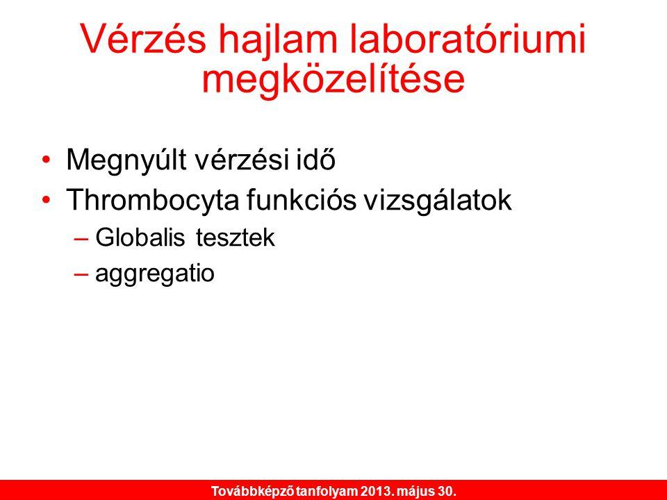 Továbbképző tanfolyam 2013. május 30. Vérzés hajlam laboratóriumi megközelítése •Megnyúlt vérzési idő •Thrombocyta funkciós vizsgálatok –Globalis tesz