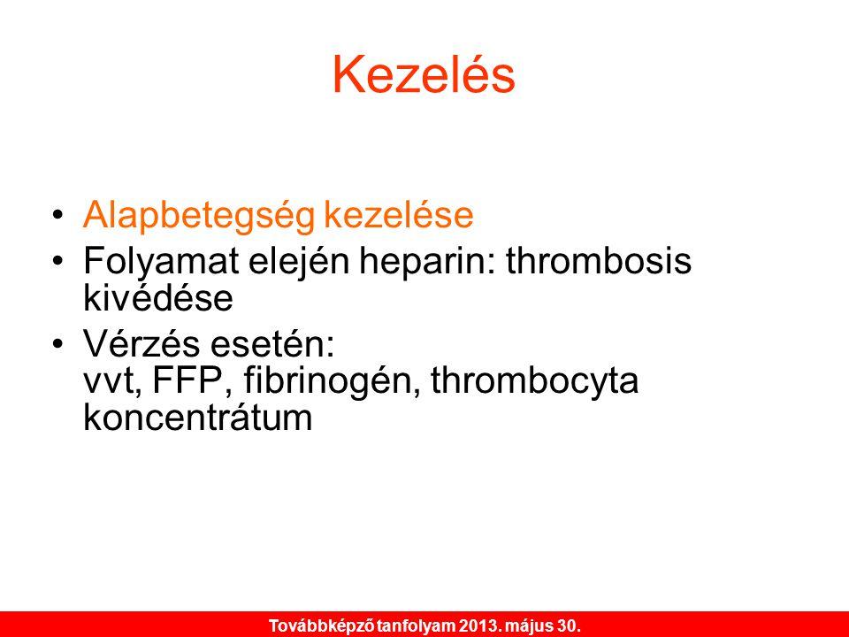Továbbképző tanfolyam 2013. május 30. Kezelés •Alapbetegség kezelése •Folyamat elején heparin: thrombosis kivédése •Vérzés esetén: vvt, FFP, fibrinogé
