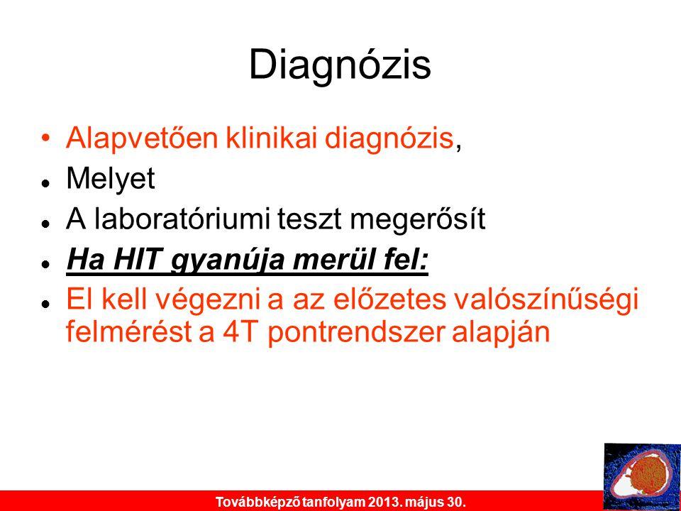 Továbbképző tanfolyam 2013. május 30. Diagnózis •Alapvetően klinikai diagnózis,  Melyet  A laboratóriumi teszt megerősít  Ha HIT gyanúja merül fel: