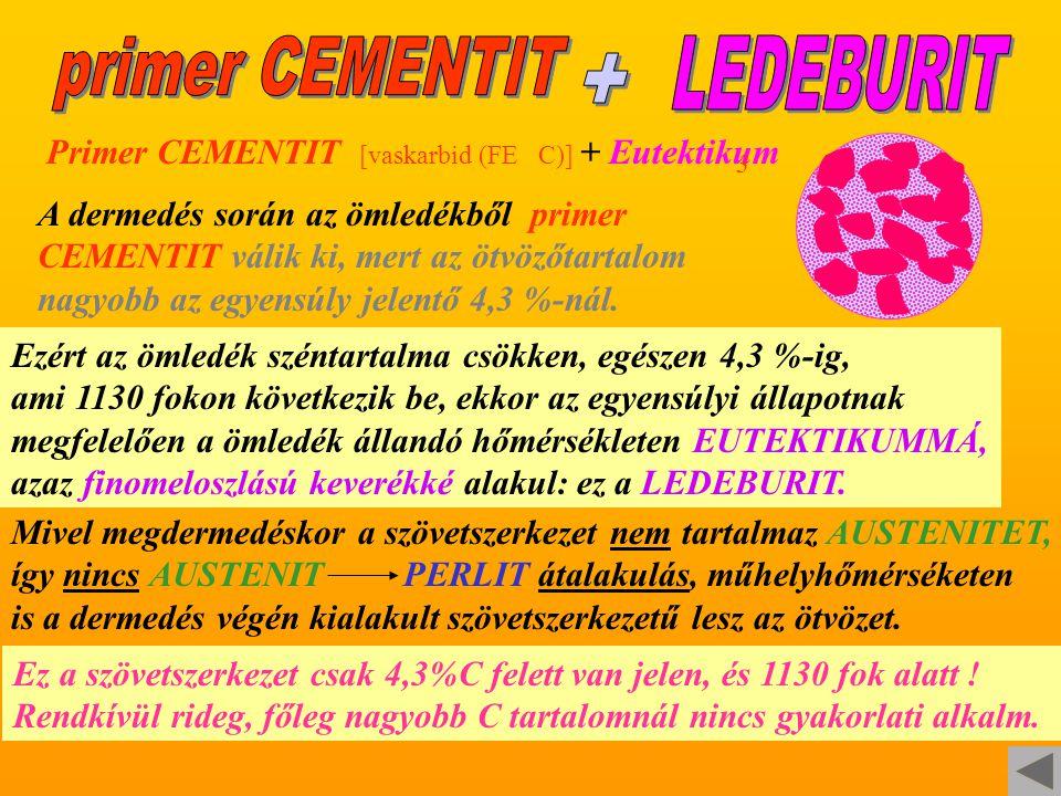 Primer CEMENTIT [vaskarbid (FE C)] + Eutektikum 3 A dermedés során az ömledékből primer CEMENTIT válik ki, mert az ötvözőtartalom nagyobb az egyensúly jelentő 4,3 %-nál.