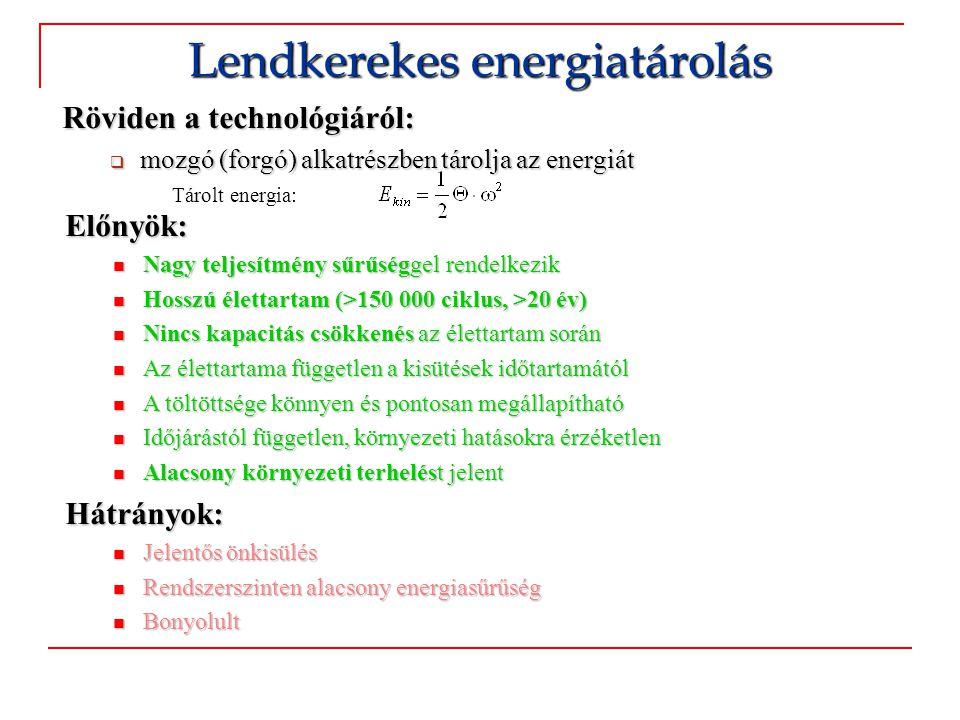 Röviden a technológiáról:  mozgó (forgó) alkatrészben tárolja az energiát Lendkerekes energiatárolás Tárolt energia: Előnyök:  Nagy teljesítmény sűr