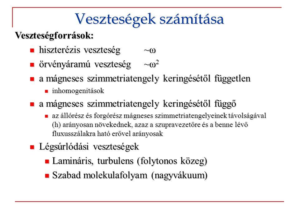 Veszteségforrások:  hiszterézis veszteség ~ω  örvényáramú veszteség ~ω 2  a mágneses szimmetriatengely keringésétől független  inhomogenitások  a