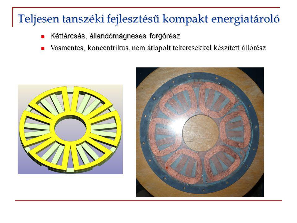  Kéttárcsás, állandómágneses forgórész  Vasmentes, koncentrikus, nem átlapolt tekercsekkel készített állórész Teljesen tanszéki fejlesztésű kompakt