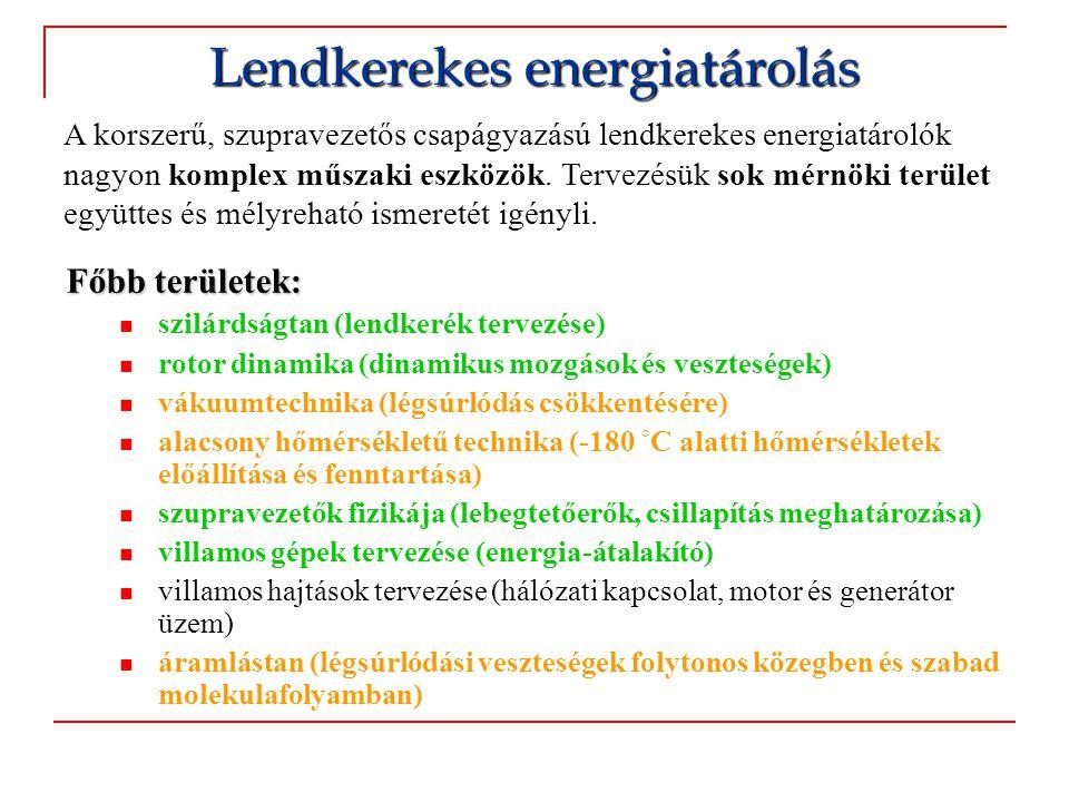 Alkalmazási területek:  Rövid idejű energiatárolás  Dinamikus UPS (Jellemzően 10-60 s)  Primer szabályozás (legalább 15 perc)  Menetrend tartás (szél- és naperőművek)  Energiamenedzsment (órák, fejlesztés alatt)  Meddőteljesítmény kompenzáció (minimális tárolt energia szükséges)  Terhelés kiegyenlítés (maximális teljesítmény helyett elegendő átlagteljesítményt lekötni)  Visszatáplált fékenergia tárolása vasúti vontatásban  Egyes tudósok a gyűrű alakú részecskegyorsítókat is lendkeréknek tekintik Nagy ciklusszám igény esetén (pl.