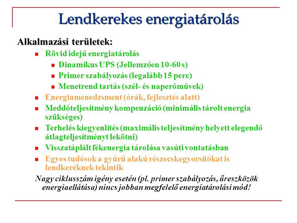 Alkalmazási területek:  Hibrid rendszerek  A lendkerék a nagyobb frekvenciás változásokat egyenlíti ki (>10 mHz)  A másodlagos energiatároló a tárolt energia nagy mennyiségéről gondoskodik (pl.