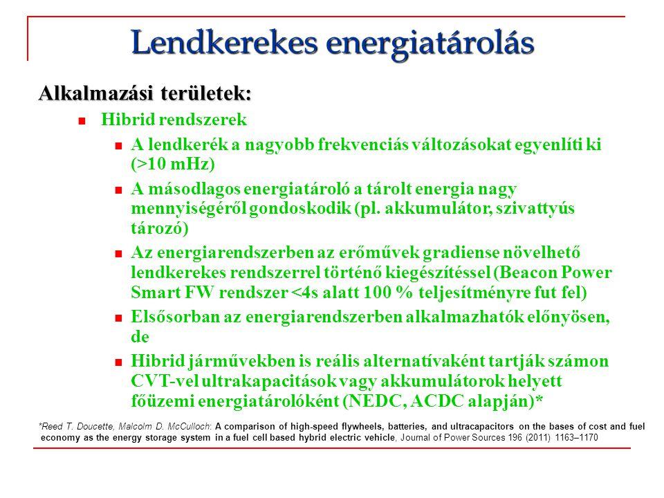 Alkalmazási területek:  Hibrid rendszerek  A lendkerék a nagyobb frekvenciás változásokat egyenlíti ki (>10 mHz)  A másodlagos energiatároló a táro