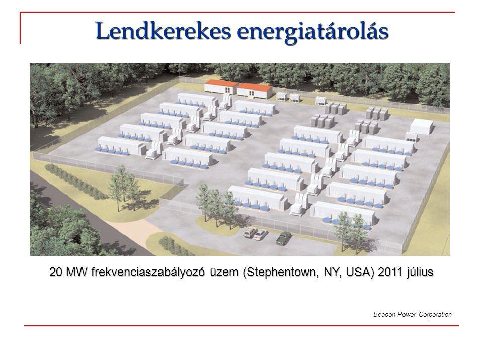Lendkerekes energiatárolás Beacon Power Corporation 20 MW frekvenciaszabályozó üzem (Stephentown, NY, USA) 2011 július