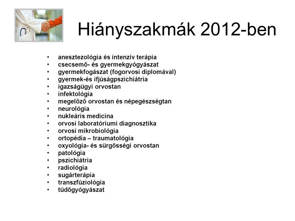 Hiányszakmák 2012-ben •anesztezológia és intenzív terápia •csecsemő- és gyermekgyógyászat •gyermekfogászat (fogorvosi diplomával) •gyermek-és ifjúságp