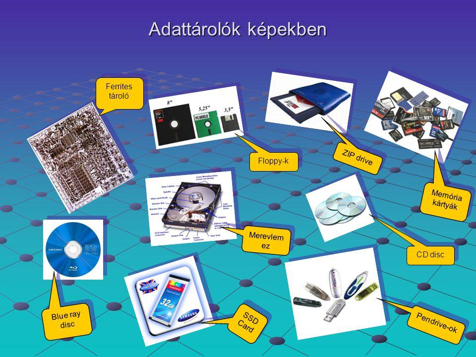 Adattárolók képekben SSD Card S S D C a r d Pendrive-ok P e n d r i v e - o k Ferrites tároló Ferrites tároló Floppy-k Floppy-k ZIP drive Z I P d r i