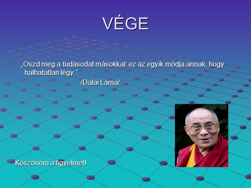 """VÉGE """"Oszd meg a tudásodat másokkal: ez az egyik módja annak, hogy halhatatlan légy."""" /Dalai Láma/ Köszönöm a figyelmet!"""