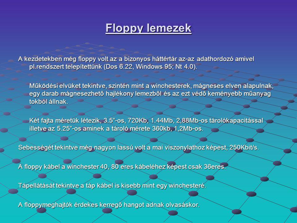 Floppy lemezek A kezdetekben még floppy volt az a bizonyos háttértár az-az adathordozó amivel pl.rendszert telepítettünk (Dos 6.22, Windows 95; Nt 4.0