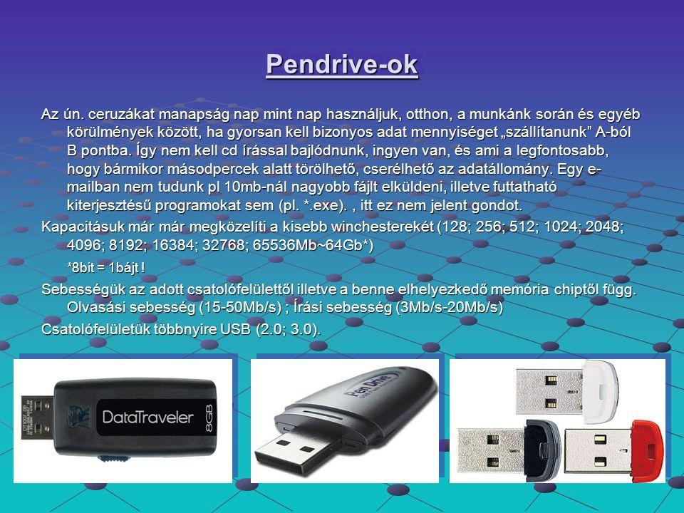 Pendrive-ok tulajdonságai A pendrive egy USB-csatolóval rendelkező flash memória.