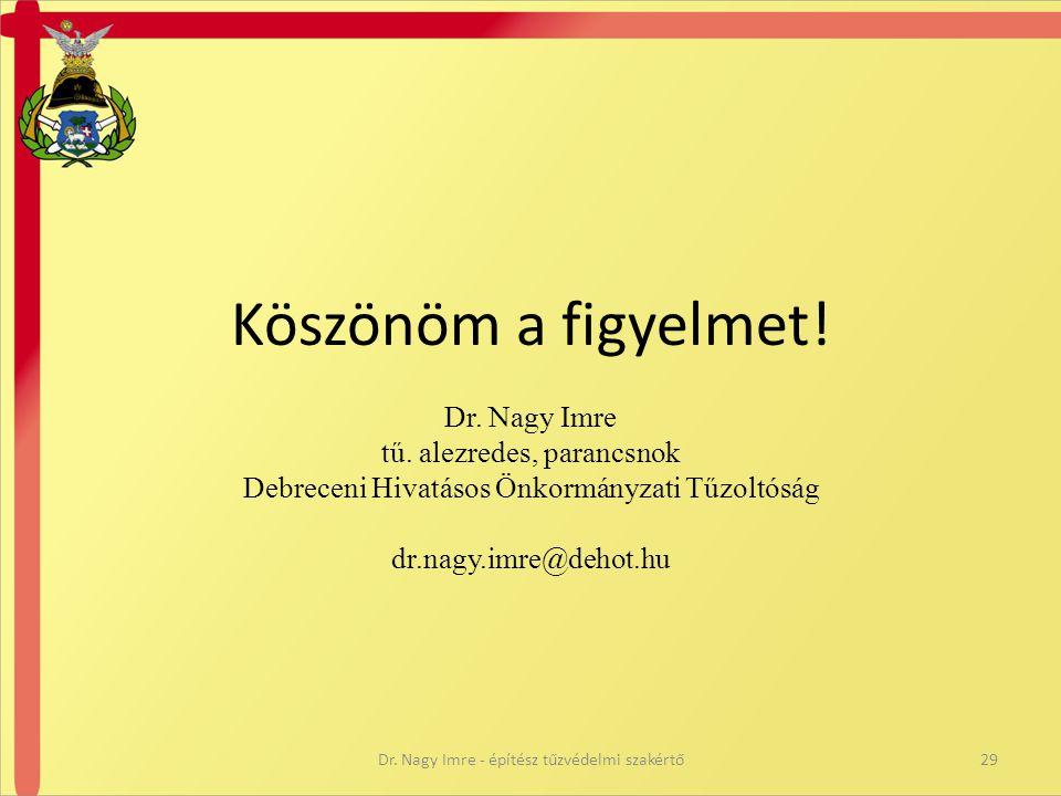 Köszönöm a figyelmet! Dr. Nagy Imre tű. alezredes, parancsnok Debreceni Hivatásos Önkormányzati Tűzoltóság dr.nagy.imre@dehot.hu 29Dr. Nagy Imre - épí