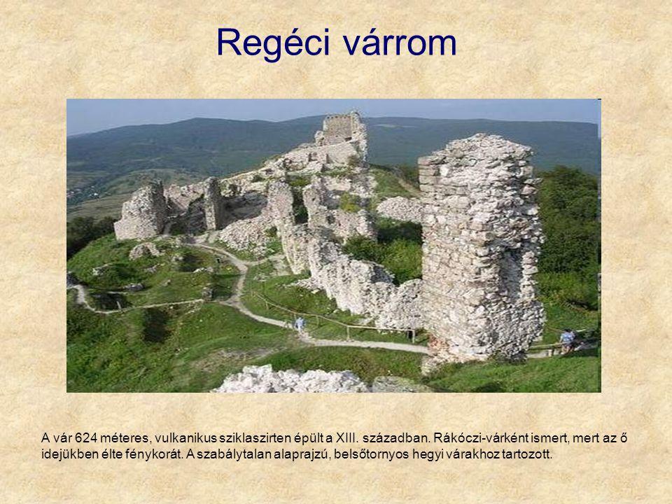 Regéci várrom A vár 624 méteres, vulkanikus sziklaszirten épült a XIII. században. Rákóczi-várként ismert, mert az ő idejükben élte fénykorát. A szabá