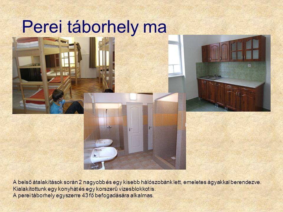 Perei táborhely ma A belső átalakítások során 2 nagyobb és egy kisebb hálószobánk lett, emeletes ágyakkal berendezve. Kialakítottunk egy konyhát és eg
