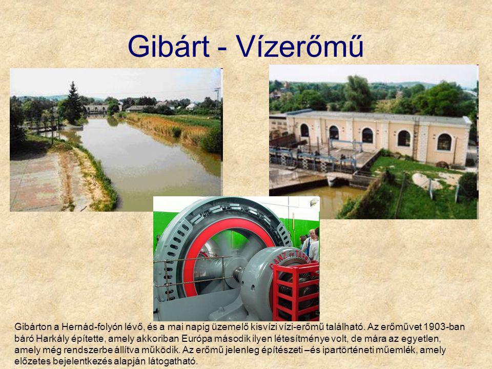 Gibárt - Vízerőmű Gibárton a Hernád-folyón lévő, és a mai napig üzemelő kisvízi vízi-erőmű található. Az erőművet 1903-ban báró Harkály építette, amel
