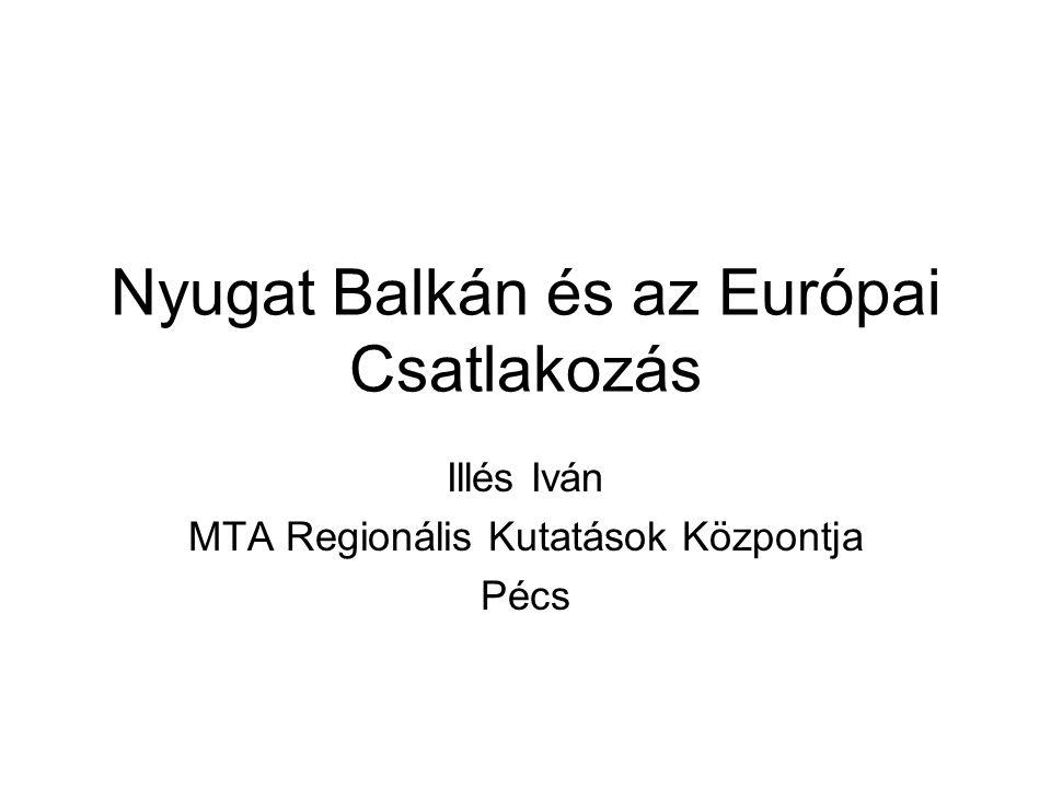 Nyugat Balkán és az Európai Csatlakozás Illés Iván MTA Regionális Kutatások Központja Pécs