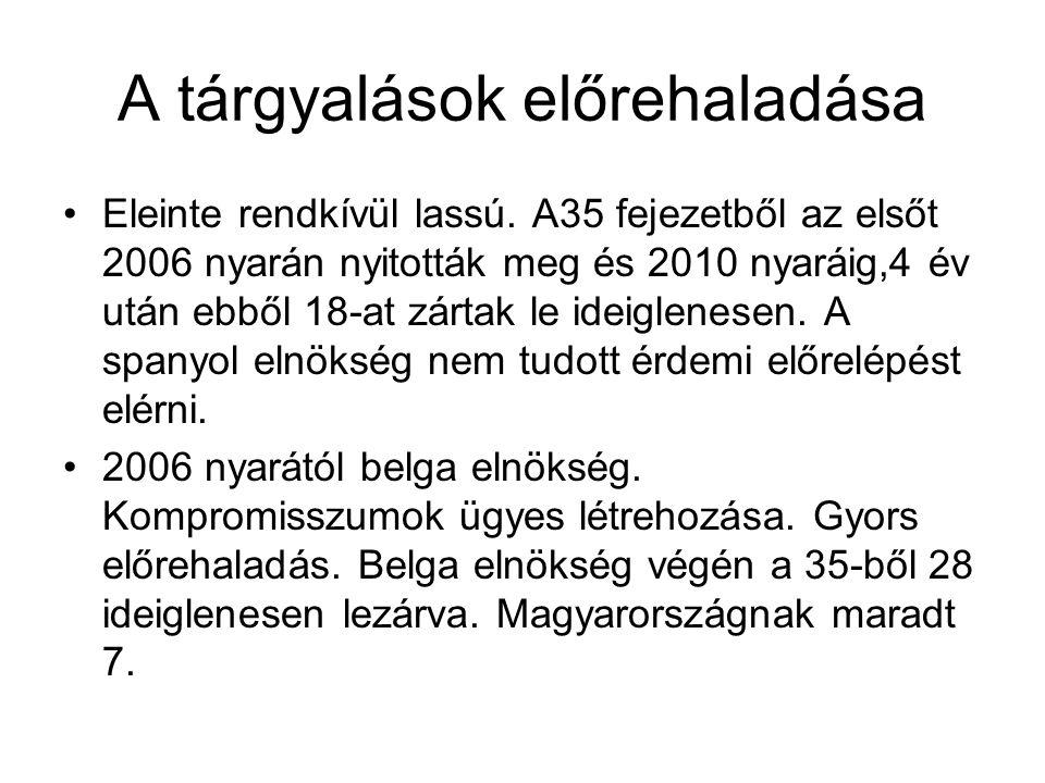 A tárgyalások előrehaladása •Eleinte rendkívül lassú. A35 fejezetből az elsőt 2006 nyarán nyitották meg és 2010 nyaráig,4 év után ebből 18-at zártak l
