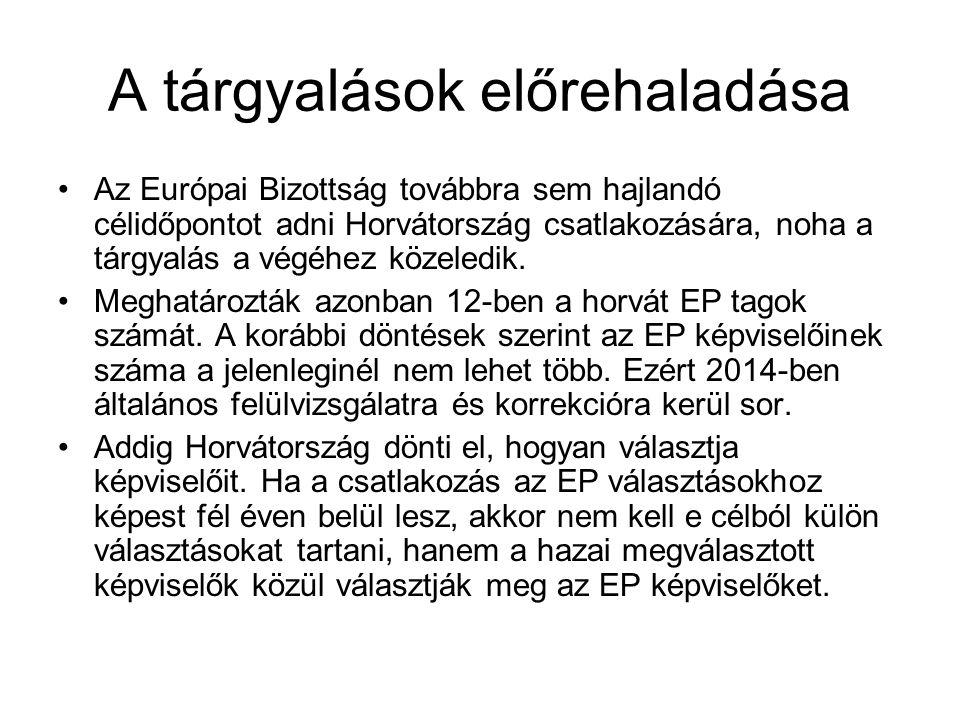A tárgyalások előrehaladása •Az Európai Bizottság továbbra sem hajlandó célidőpontot adni Horvátország csatlakozására, noha a tárgyalás a végéhez közeledik.
