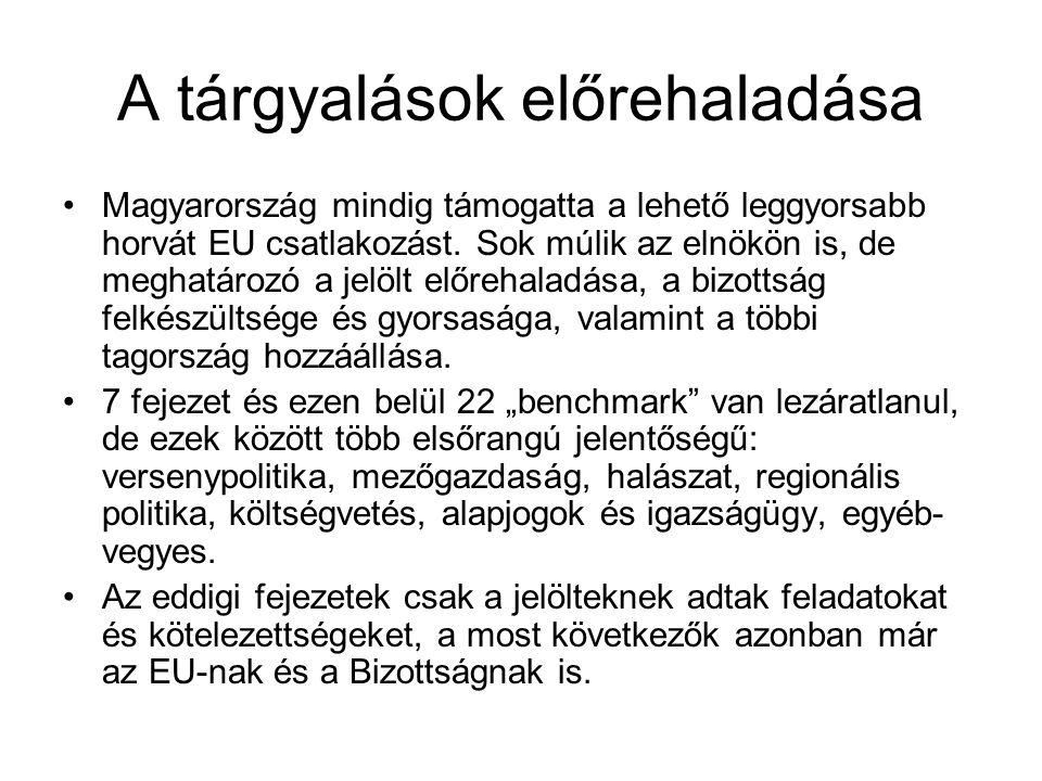 A tárgyalások előrehaladása •Magyarország mindig támogatta a lehető leggyorsabb horvát EU csatlakozást. Sok múlik az elnökön is, de meghatározó a jelö
