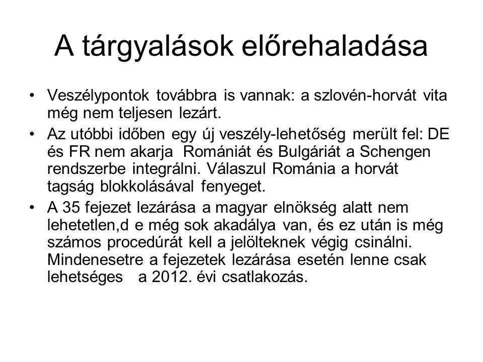 A tárgyalások előrehaladása •Veszélypontok továbbra is vannak: a szlovén-horvát vita még nem teljesen lezárt. •Az utóbbi időben egy új veszély-lehetős