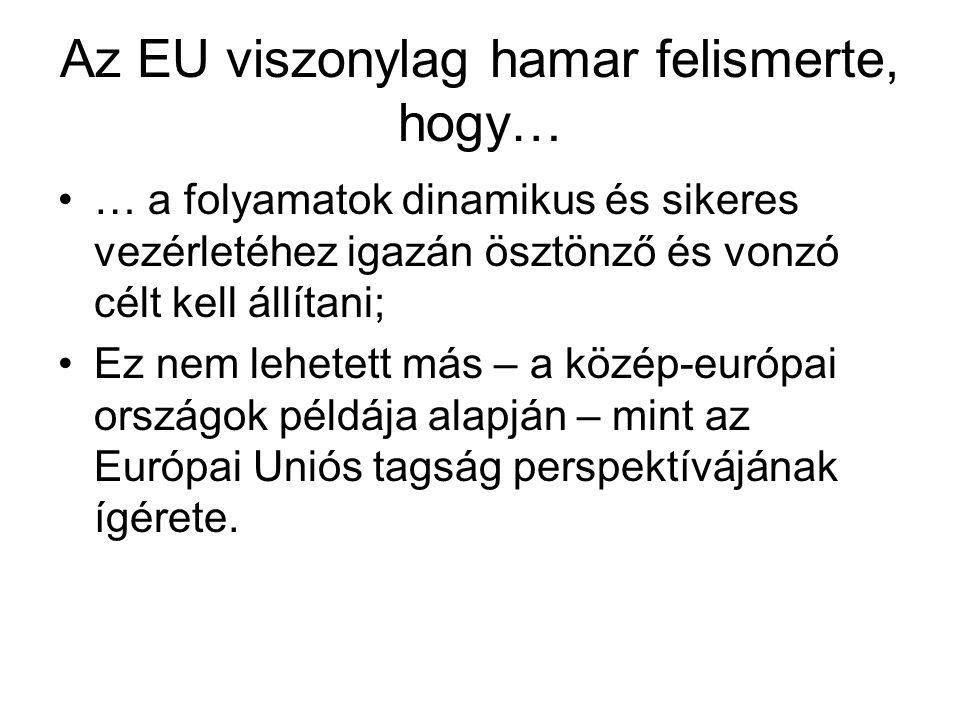 Az EU viszonylag hamar felismerte, hogy… •… a folyamatok dinamikus és sikeres vezérletéhez igazán ösztönző és vonzó célt kell állítani; •Ez nem lehetett más – a közép-európai országok példája alapján – mint az Európai Uniós tagság perspektívájának ígérete.