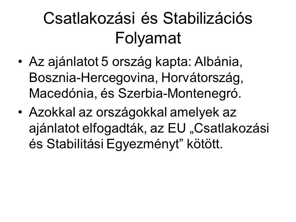Csatlakozási és Stabilizációs Folyamat •Az ajánlatot 5 ország kapta: Albánia, Bosznia-Hercegovina, Horvátország, Macedónia, és Szerbia-Montenegró. •Az