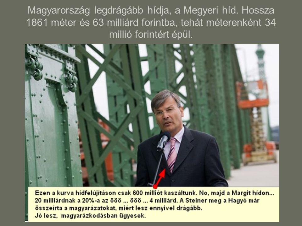Magyarország legdrágább hídja, a Megyeri híd. Hossza 1861 méter és 63 milliárd forintba, tehát méterenként 34 millió forintért épül.