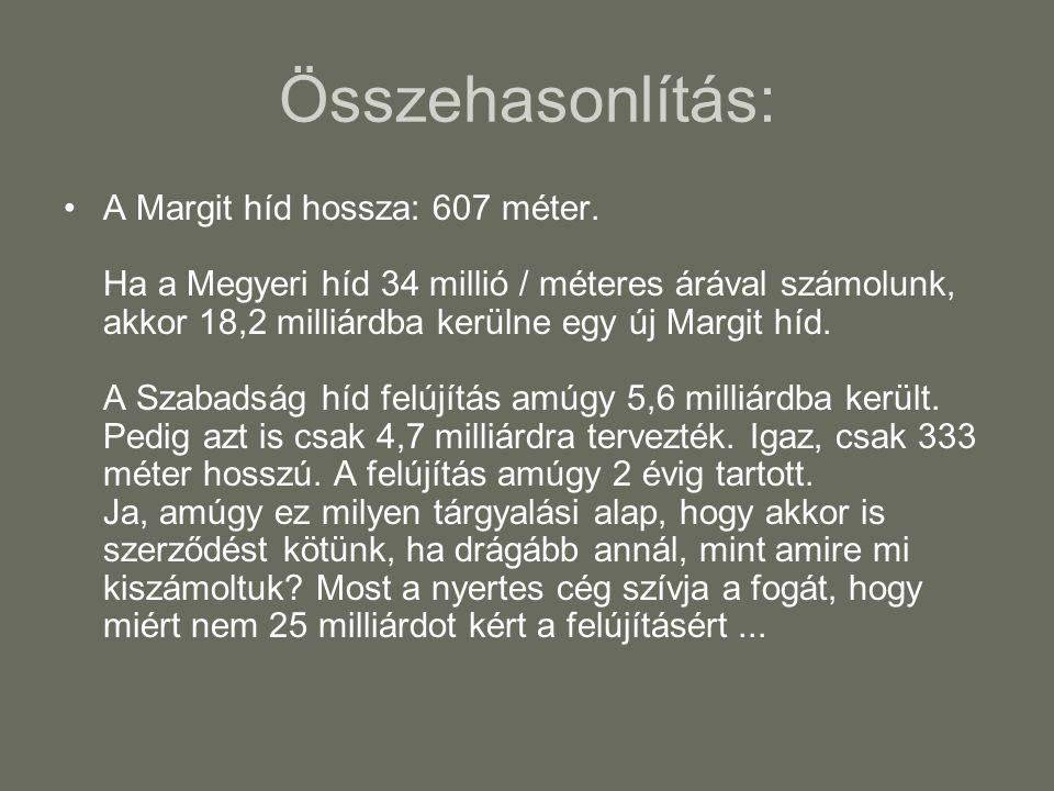 Összehasonlítás: •A Margit híd hossza: 607 méter. Ha a Megyeri híd 34 millió / méteres árával számolunk, akkor 18,2 milliárdba kerülne egy új Margit h