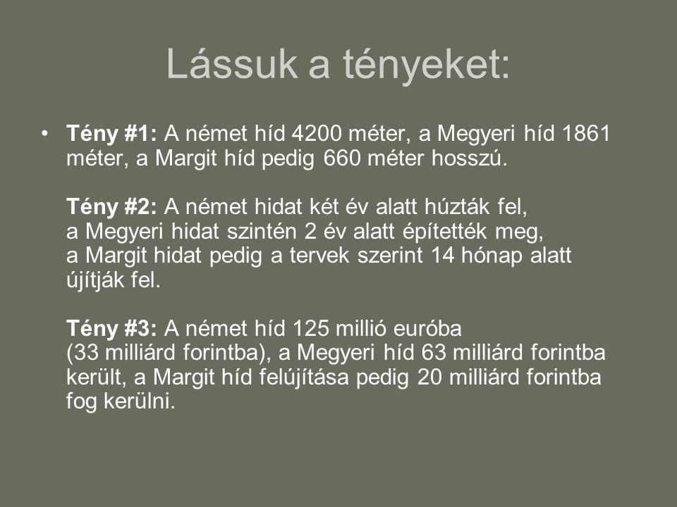 Lássuk a tényeket: •Tény #1: A német híd 4200 méter, a Megyeri híd 1861 méter, a Margit híd pedig 660 méter hosszú. Tény #2: A német hidat két év alat