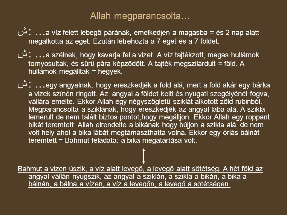 Allah megparancsolta… ش: … a víz felett lebegő párának, emelkedjen a magasba = és 2 nap alatt megalkotta az eget. Ezután létrehozta a 7 eget és a 7 fö