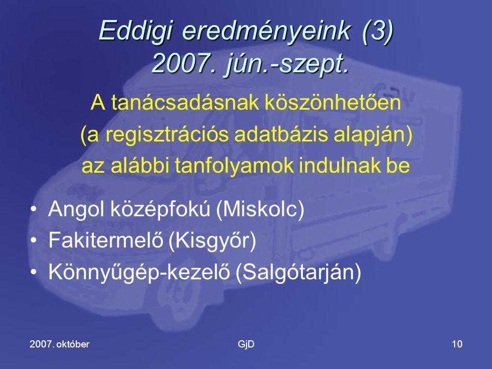 2007. októberGjD10 Eddigi eredményeink (3) 2007. jún.-szept.