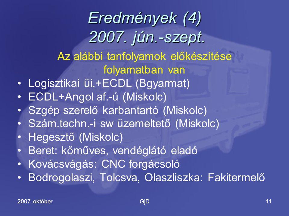 2007. októberGjD11 Eredmények (4) 2007. jún.-szept.