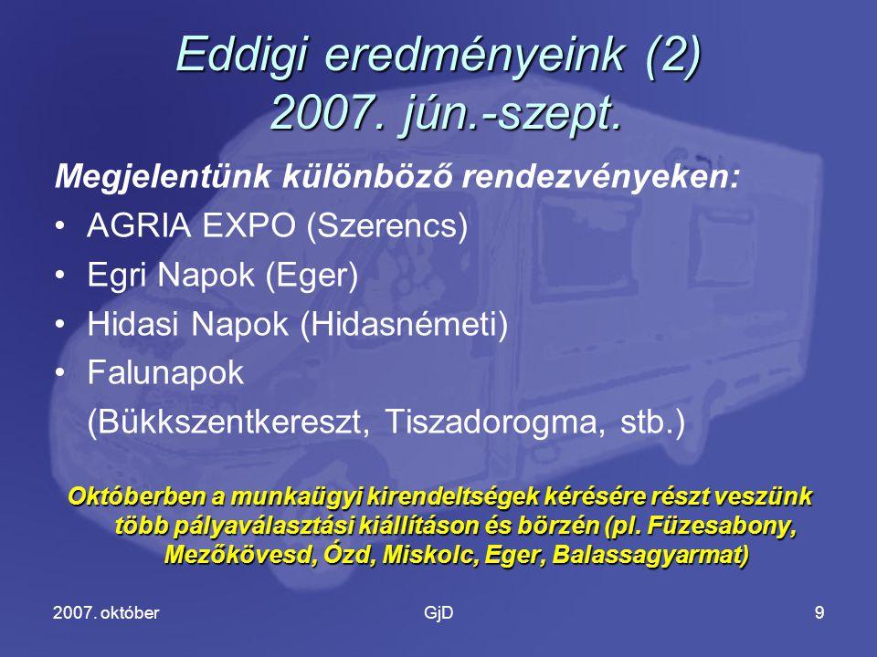 2007. októberGjD9 Eddigi eredményeink (2) 2007. jún.-szept.