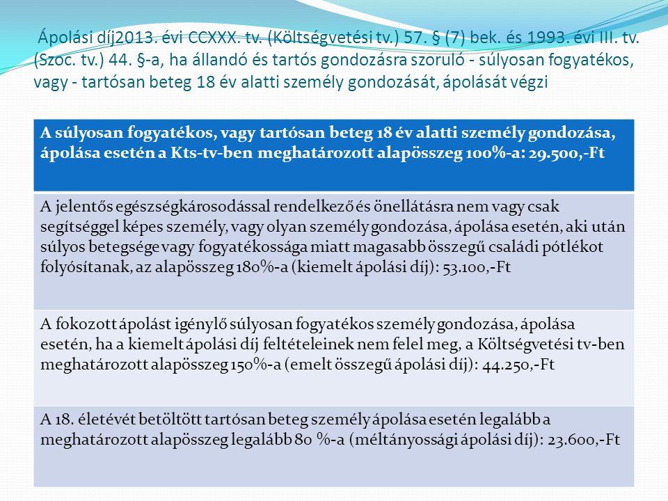 Ápolási díj2013. évi CCXXX. tv. (Költségvetési tv.) 57. § (7) bek. és 1993. évi III. tv. (Szoc. tv.) 44. §-a, ha állandó és tartós gondozásra szoruló