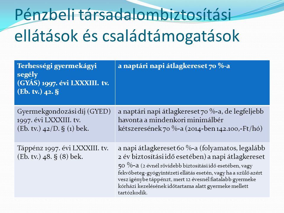 Pénzbeli társadalombiztosítási ellátások és családtámogatások Terhességi gyermekágyi segély (GYÁS) 1997. évi LXXXIII. tv. (Eb. tv.) 42. § a naptári na