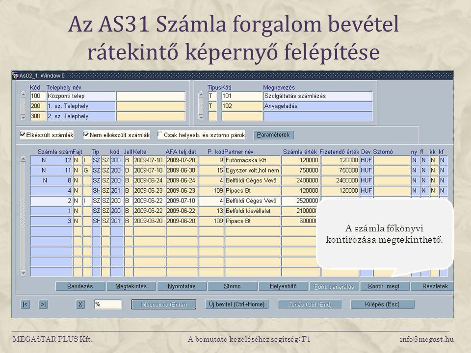 Az AS31 Számla forgalom bevétel rátekintő képernyő felépítése MEGASTAR PLUS Kft. A bemutató kezeléséhez segítség: F1 info@megast.hu A számla főkönyvi