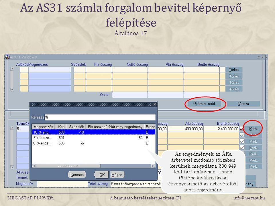 MEGASTAR PLUS Kft. A bemutató kezeléséhez segítség: F1 info@megast.hu Az AS31 számla forgalom bevitel képernyő felépítése Általános 17 Az engedmények