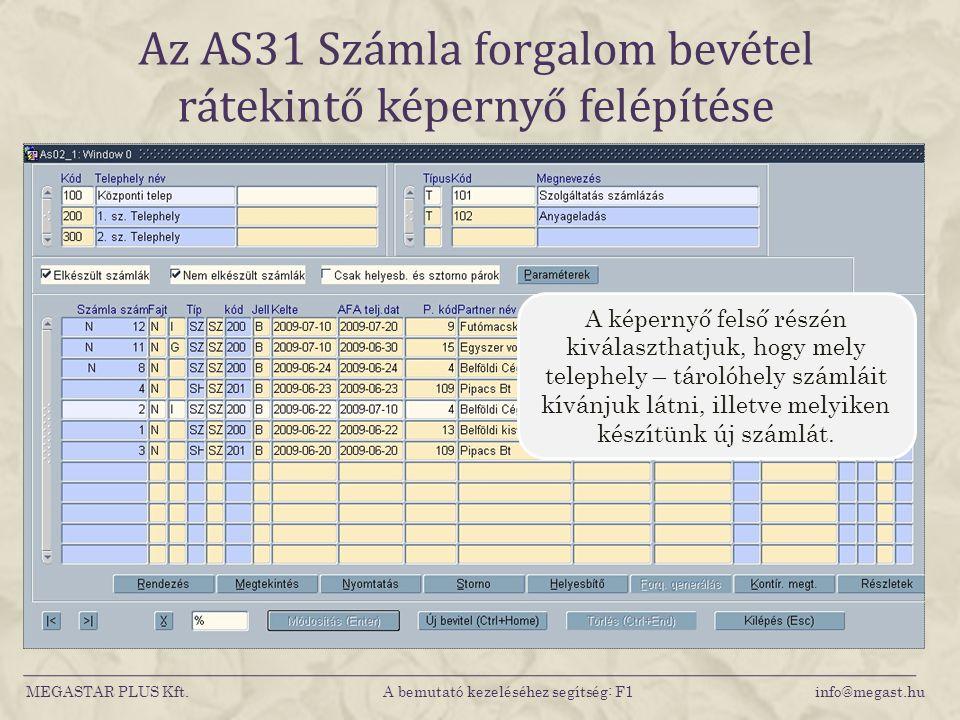 Az AS31 Számla forgalom bevétel rátekintő képernyő felépítése MEGASTAR PLUS Kft. A bemutató kezeléséhez segítség: F1 info@megast.hu A képernyő felső r
